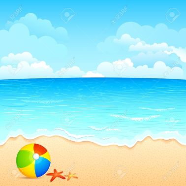 14504682-vector-illustration-of-colorful-ball-and-shell-on-sea-beach-stock-vector